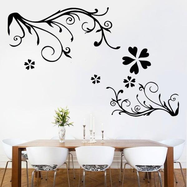 Samolepka na stěnu Black Floral, 60x90 cm