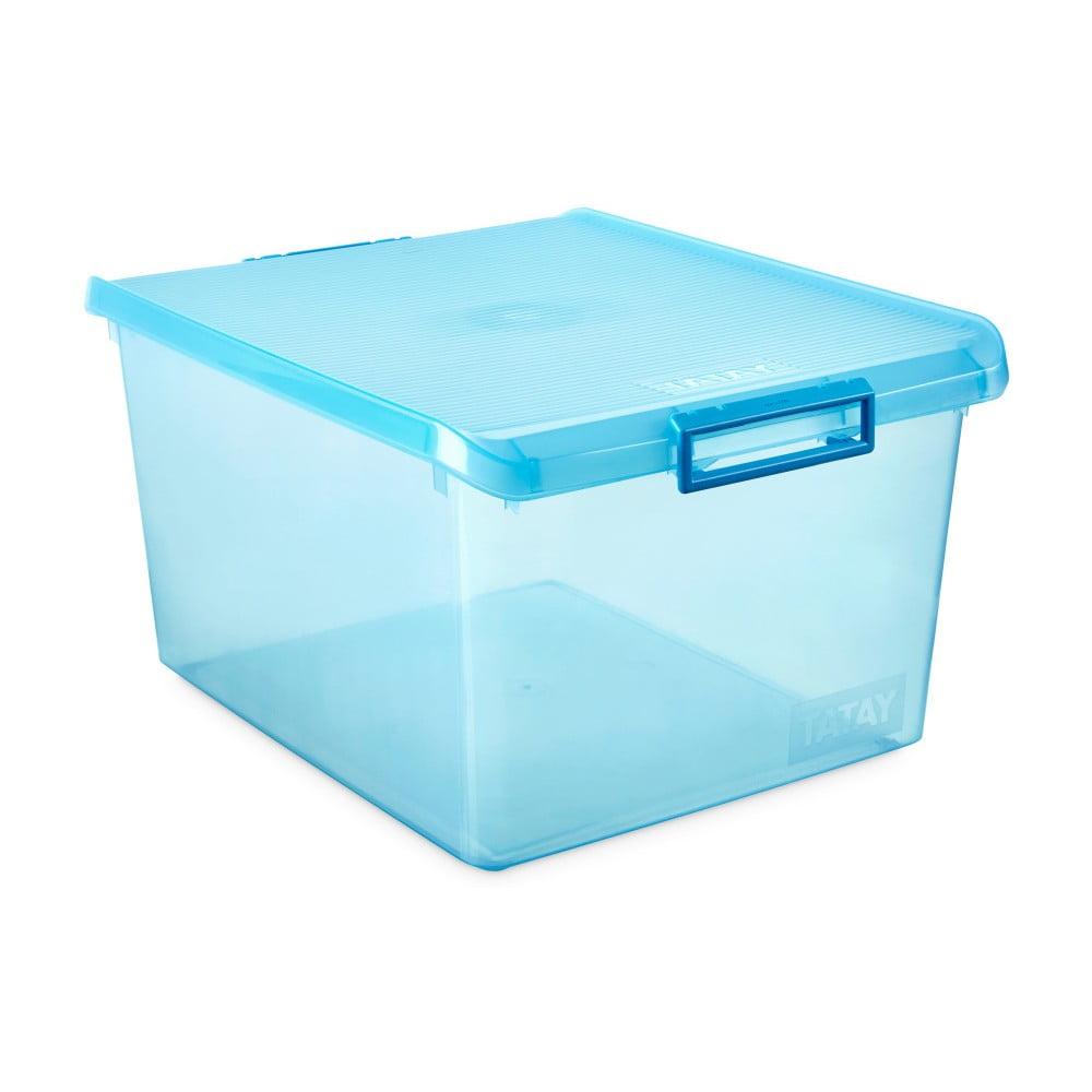 Tyrkysový úložný box s víkem Ta-Tay Storage Box, 35 l