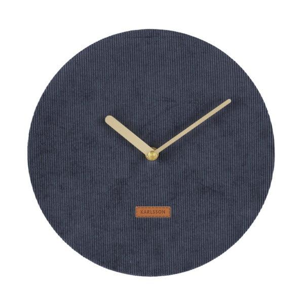 Ceas de perete din catifea Karlsson Corduroy, ⌀ 25 cm, albastru închis