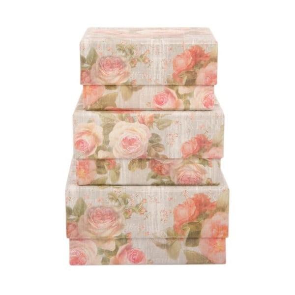 Sada 3 úložných krabic Sweet Roses
