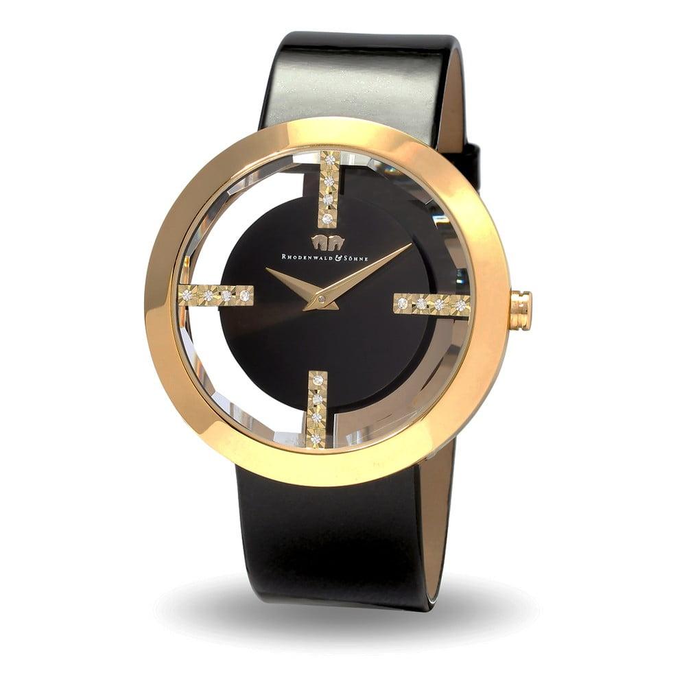 Dámské hodinky ve zlaté barvě s černým ciferníkem Rhodenwald & Söhne Lucrezia