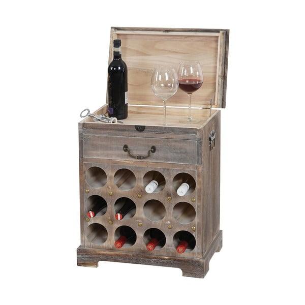 Stojan na 12 lahví vína Shabby, hnědý