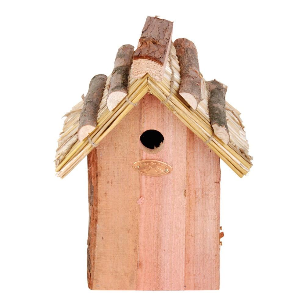 Ptačí budka z jedlového dřeva se slaměnou střechou Esschert Design Antik, výška 27 cm