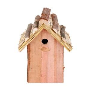 Ptačí budka z jedlového dřeva se slaměnou střechou Esschert Design Antik, výška27cm