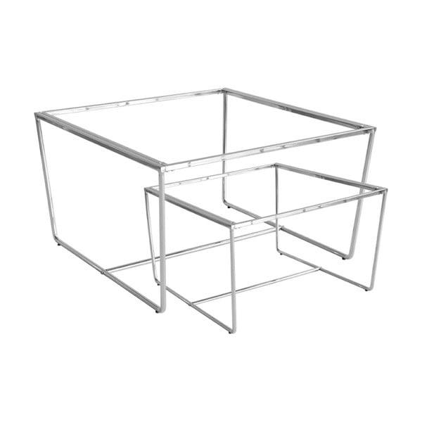 Sada 2 konferenčních stolků s podnožím ve stříbrné barvě a šedou mramorovou deskou RGE Stella