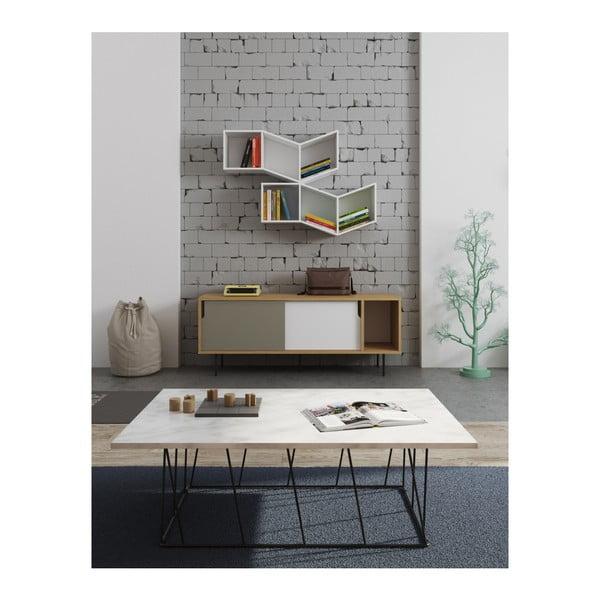 Bílý mramorový konferenční stolek s černými nohami TemaHome Helix, 75 x 120 cm