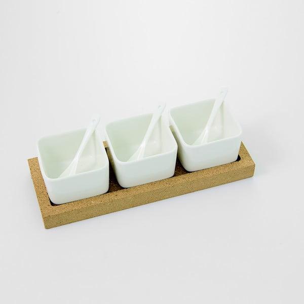 Servírovací misky s korkovým podnosem Cork, 30x11 cm