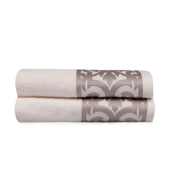 Sada 2 bílých ručníků na ruce s hnědým lemováním Grace
