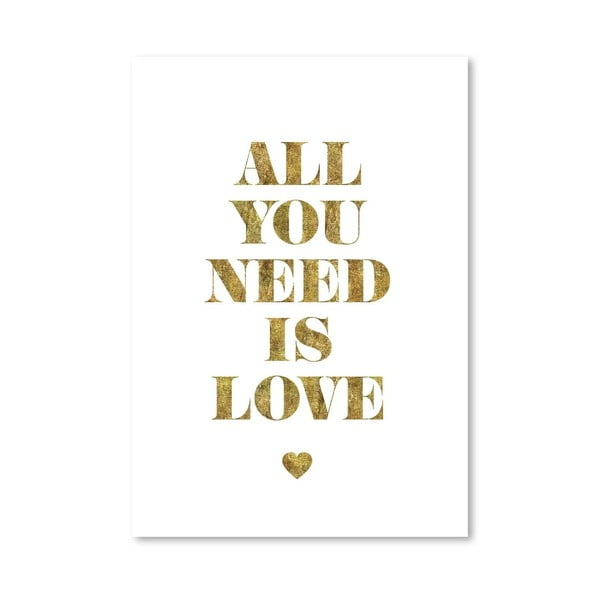Plakát All You Need Is Love Gold, 42x60 cm