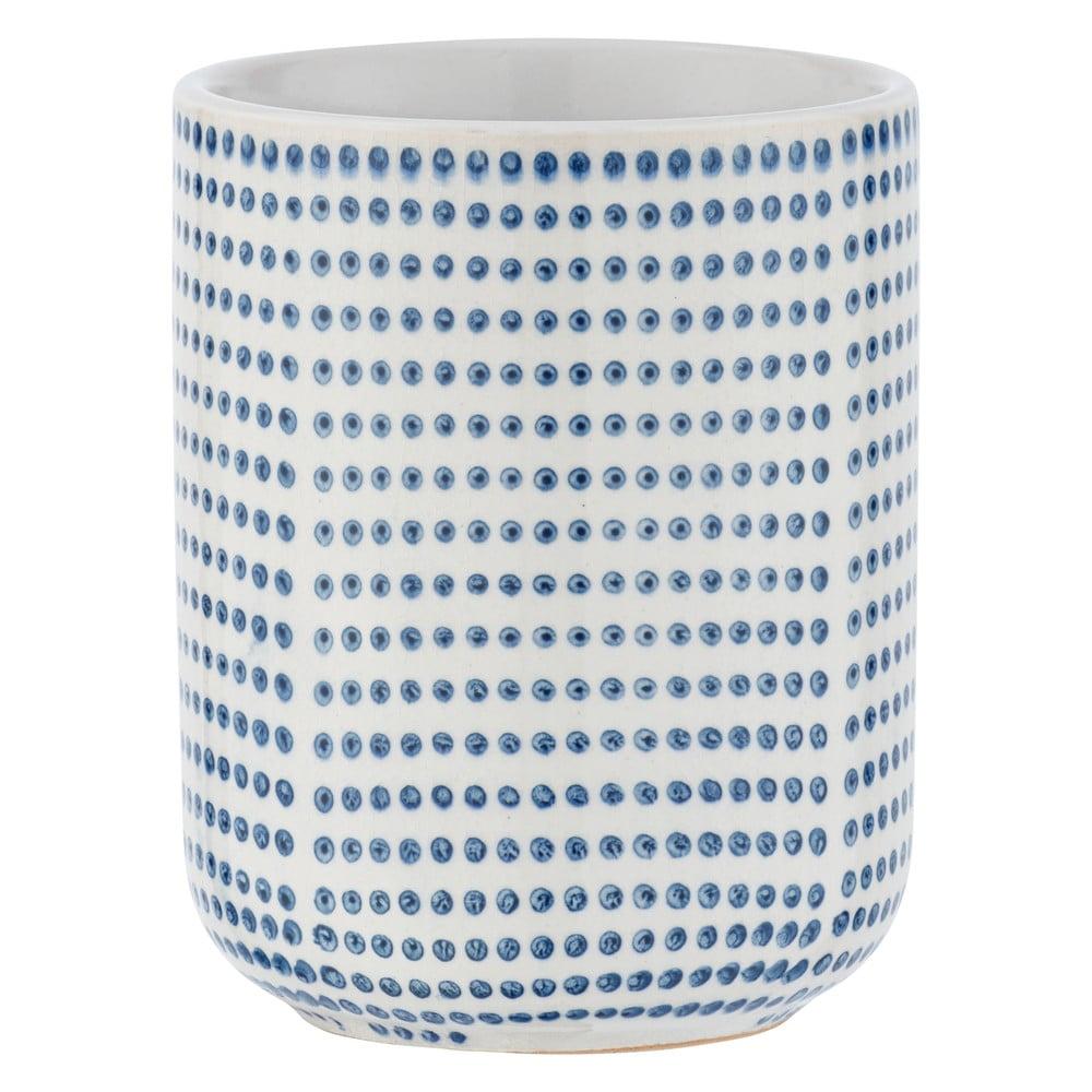 Produktové foto Modro-bílý keramický kelímek na kartáčky Wenko Nole