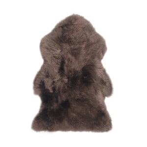 Tmavě hnědý vlněný koberec z ovčí kožešiny Auskin Mathe,95x60cm