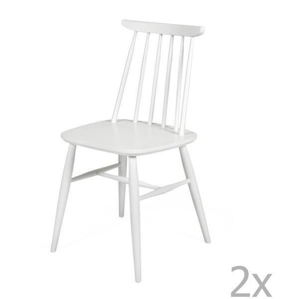 Sada 2 bielych jedálenských stoličiek z masívnej brezy Woodman Aino