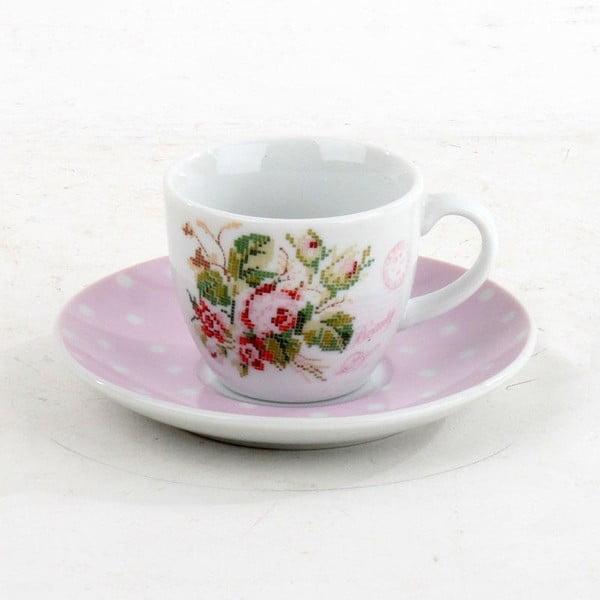 Porcelánová sada hrníčků na kávu Pink Roses, 6 ks