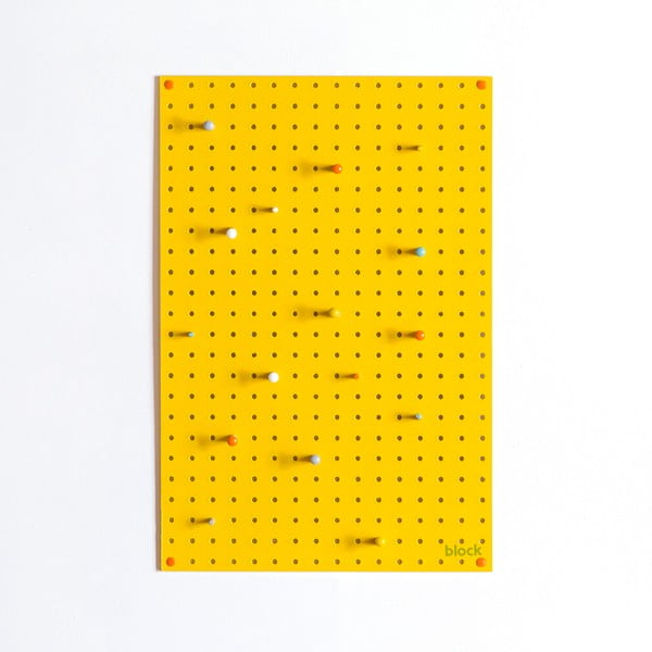 Multifunkční nástěnka Pegboard 40x61 cm, žlutá