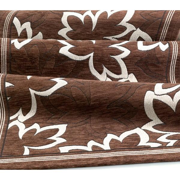 Hnědý vysoce odolný kuchyňský koberec Webtappeti Maple Marrone,55x190cm