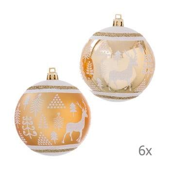 Set 6 decorațiuni de Crăciun Unimasa Deer, auriu imagine