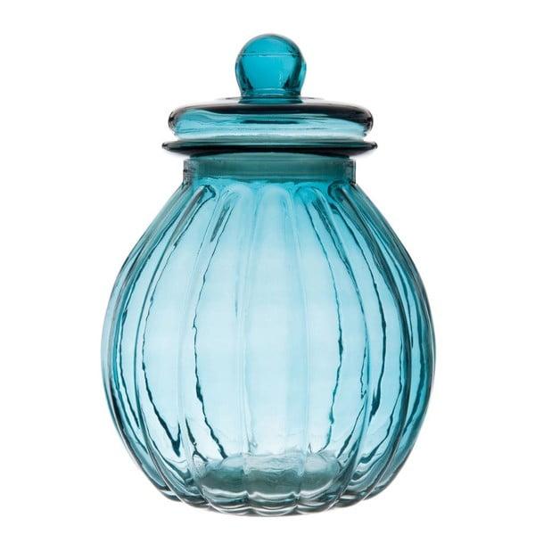 Skleněná dóza Ribbed Blue, 19x26 cm