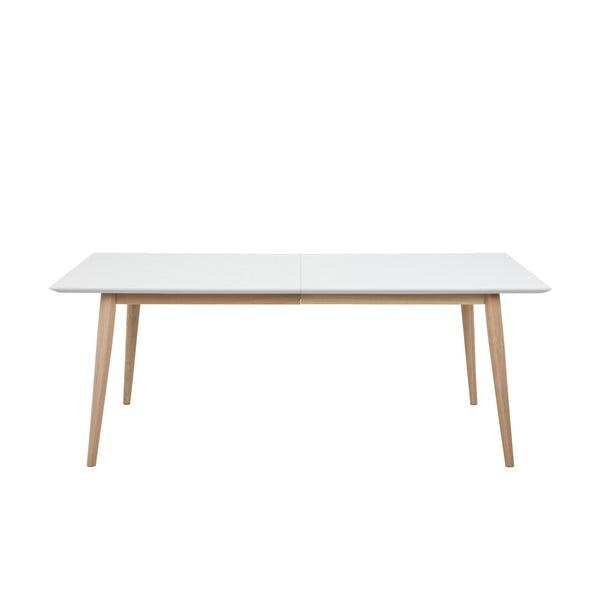 Century fehér bővíthető étkezőasztal tölgyfa lábszerkezettel, 200x100cm - Actona