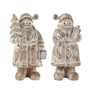 Sada 2 dekorativních Santa Clausů KJ Collection, 13,5 cm