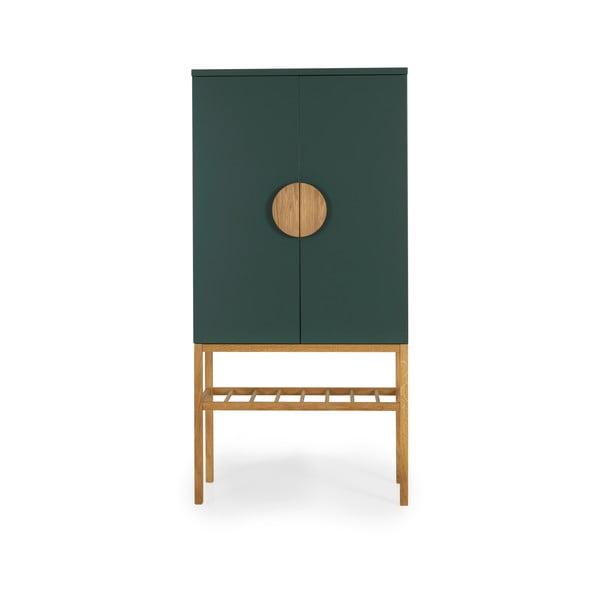 Dulap cu picioare din lemn de stejar Tento Scoop, înălțime 162 cm, verde