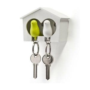 Bílý věšáček na klíče s bílou a zelenou klíčenkou Qualy Duo Sparrow