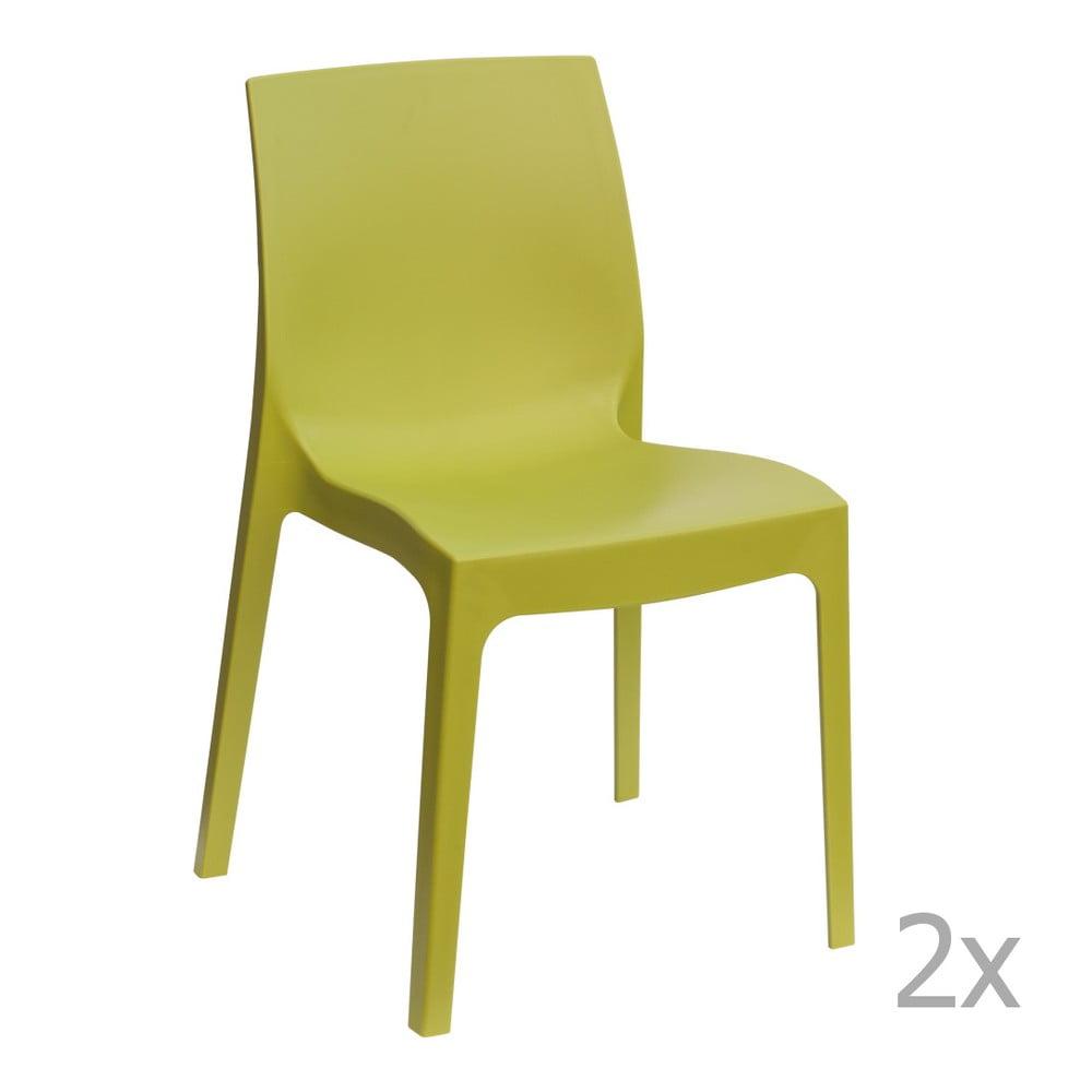 Sada 2 zelených jídelních židlí Castagnetti Rome