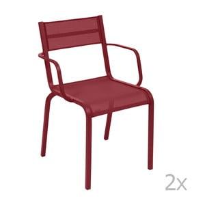 Sada 2 červených kovových zahradních židlí Fermob Oléron Arms
