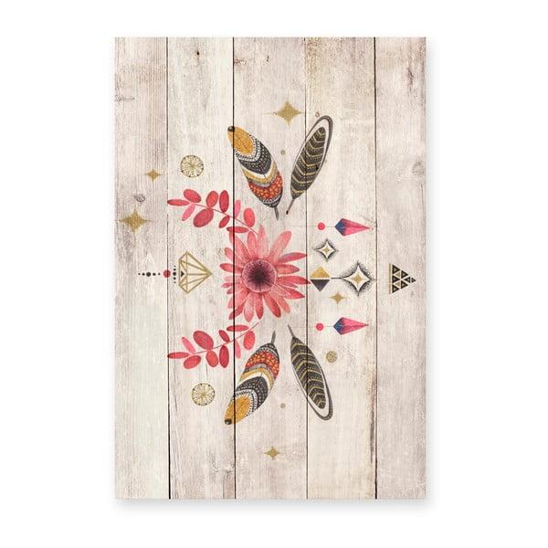 Nástěnná dekorace z borovicového dřeva Madre Selva Gipsy, 60 x 40 cm