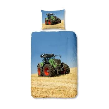 Lenjerie de pat din bumbac pentru copii Good Morning Tractor, 140 x 200 cm imagine