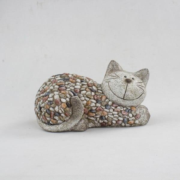 Decorațiune de grădină Dakls Garden Deco Cat With Stones, înălțime 18 cm