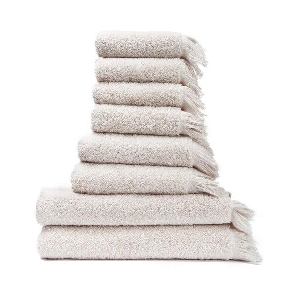 Sada 6 krémovobielych uterákov a 2 osušiek zo 100% bavlny Bonami