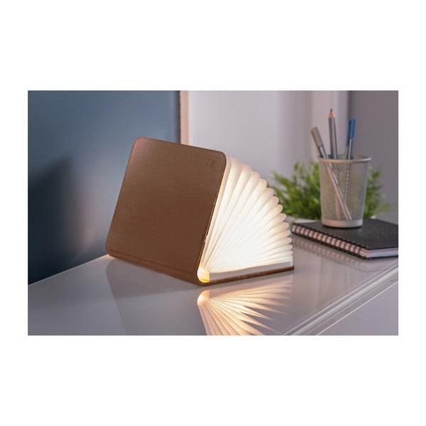 Veioză cu LED Gingko Mini, formă de carte, maro