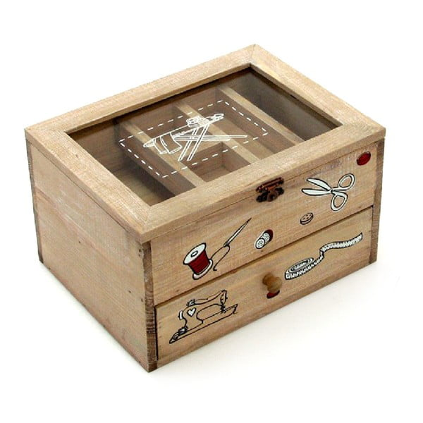 Cutie cu două sertare pentru accesorii cusut Unimasa Sewing, maro