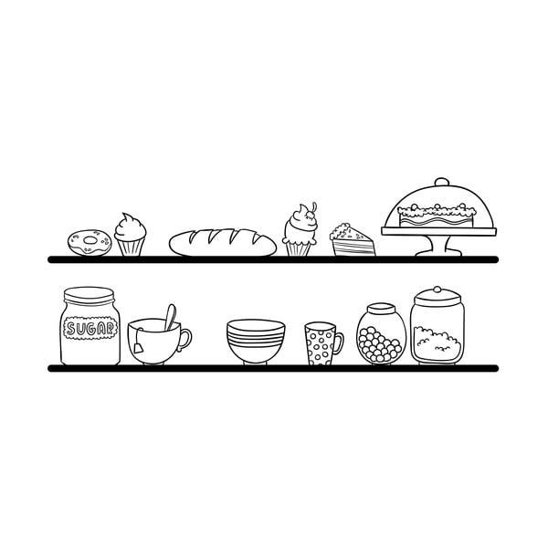 Samolepka na stěnu Kitchen Shelves