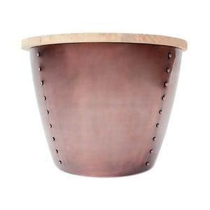 Příruční stolek v měděné barvě s deskou z mangového dřeva LABEL51 Indi, Ø60 cm