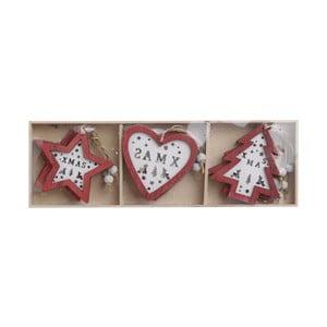 Sada 9 dřevěných ozdob InArt Christmas