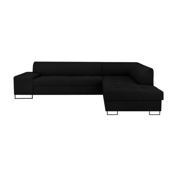 Černá rohová rozkládací pohovka s nohami v černé barvě Cosmopolitan Design Orlando, pravý roh