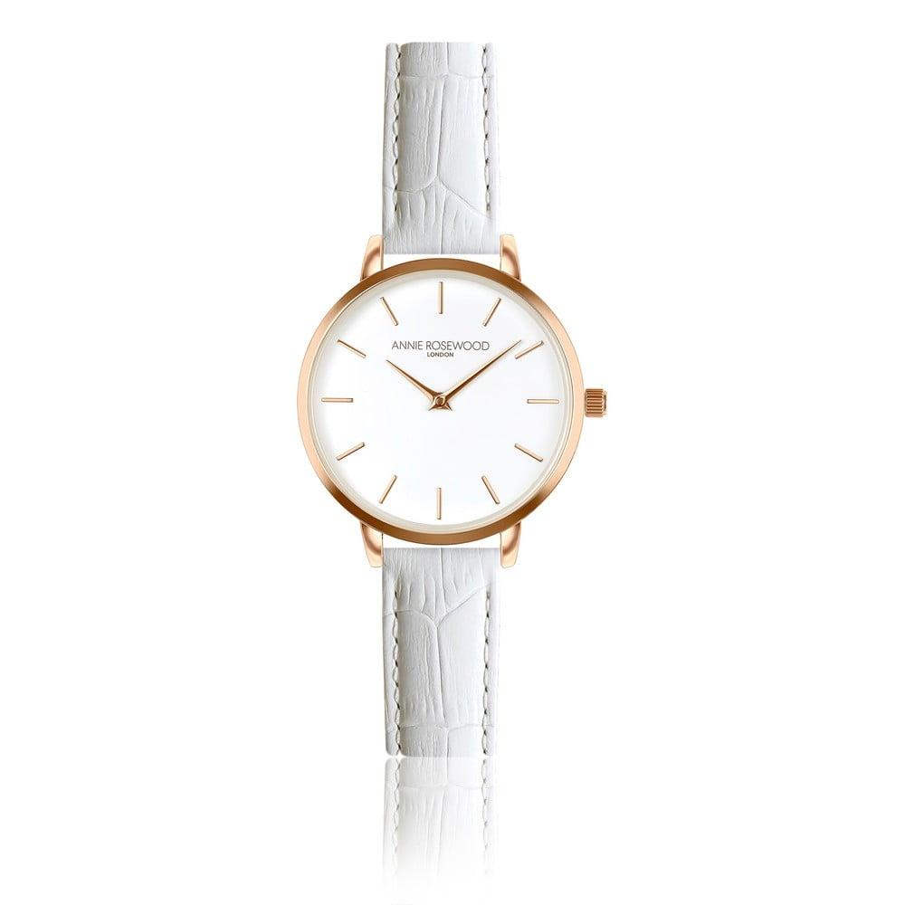 Dámské hodinky sbílým koženým páskem Annie Rosewood Elsa