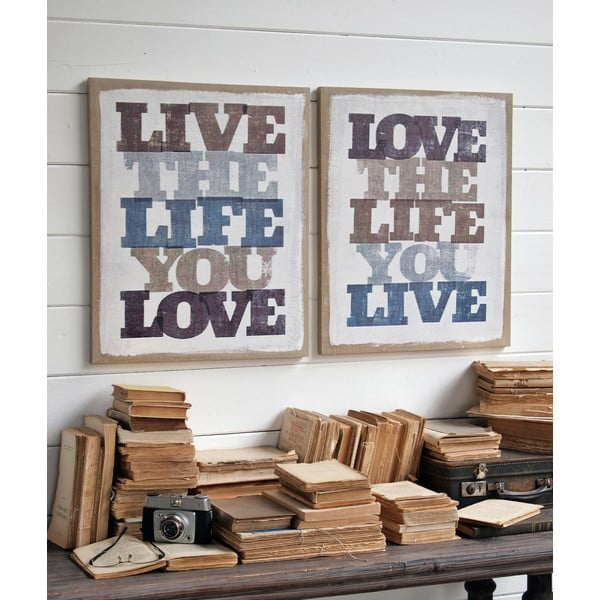 Sada 2 nástěnných dekorací Live Life Love