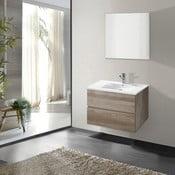 Koupelnová skříňka s umyvadlem a zrcadlem Flopy, dekor dubu, 60 cm