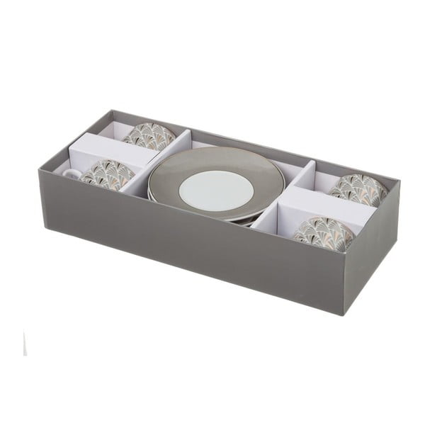 Sada 4 šedých porcelánových hrnečků s podšálky Unimasa Belle, 180ml