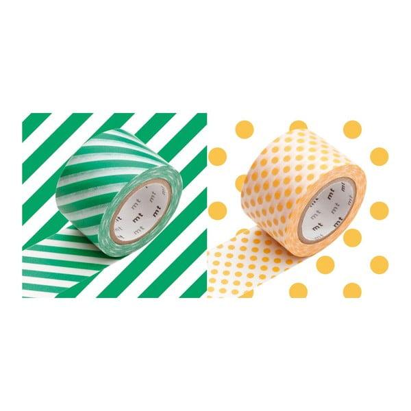 Sada 2 washi pásek Rayé Green Apricot