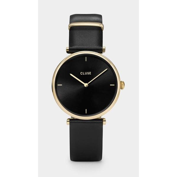 Čierne dámske hodinky s koženým remienkom Cluse Triomphe