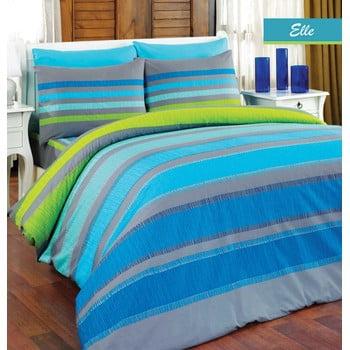 Lenjerie de pat cu cearșaf Elle Blue, 160 x 220 cm de la Majoli Bahar Home Collection
