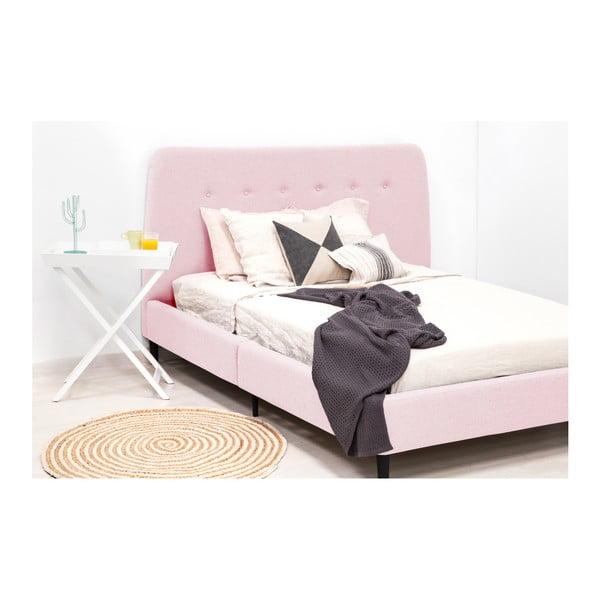 Pudrově růžová dvoulůžková postel s černými nohami Vivonita Mae King Size, 180 x 200 cm