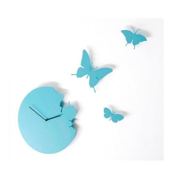 Designové hodiny Butterfly Sky Blue, 40 cm