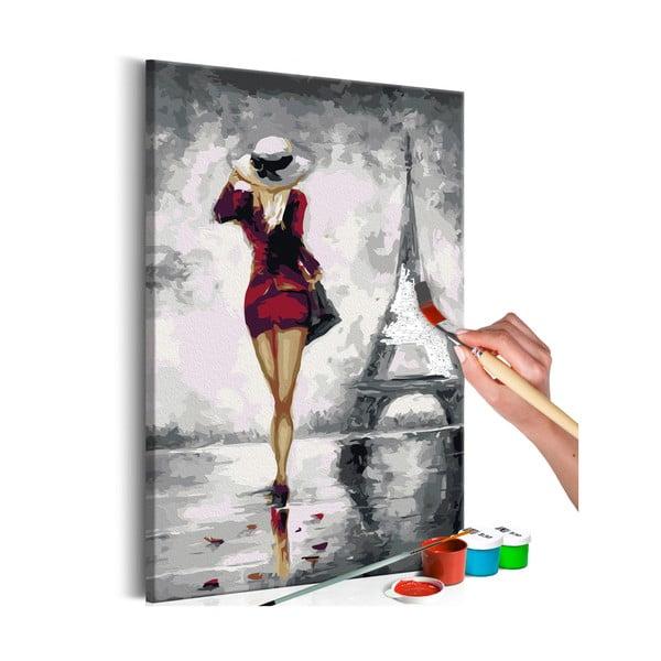 DIY set na tvorbu vlastného obrazu na plátne Artgeist Parisian Girl, 40 × 60 cm