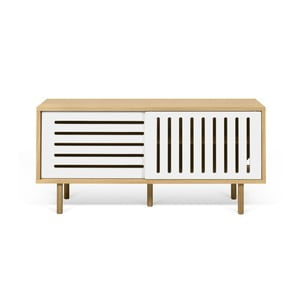 Comodă TV TemaHome Dann Stripes, decor stejar cu detalii albe, lungime 135 cm