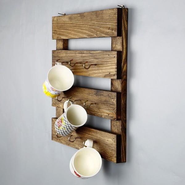 Kuchyňský regál z masivního dřeva na hrnečky Catalin Vienna, 45x45x6cm
