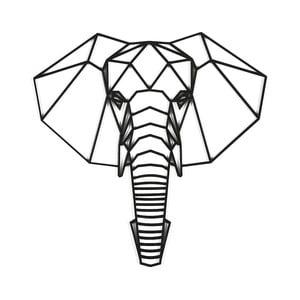 Černá nástěnná dekorace Dekorjinal Pouff Elephants Head, 59x59cm